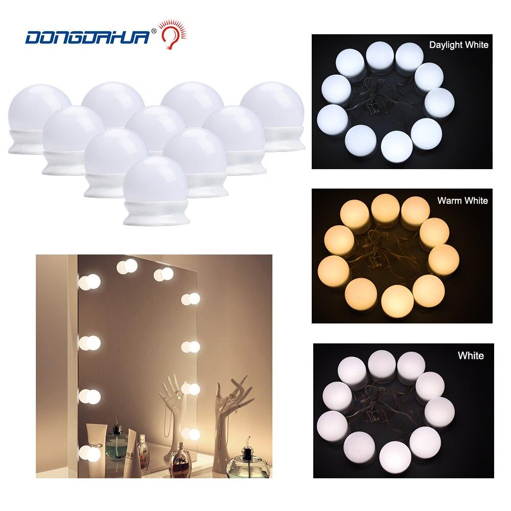2019 Led Lamp Makeup Mirror Vanity LED Light Bulbs Kit USB Plug Cosmetic Light Hollywood Make up Bulb Stepless Dimmable Lighting