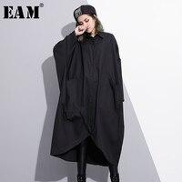 EAM 2018 New Spring Lapel Long Sleeve Black Irregular Line Tassels Big Pockets Big Size
