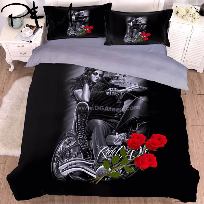PAPA&MIMA Dropshipping 3D beauty skull bedding set microfiber Fabric Duvet Cover sets Pillowcases King Queen Double  twin sizePAPA&MIMA Dropshipping 3D beauty skull bedding set microfiber Fabric Duvet Cover sets Pillowcases King Queen Double  twin size