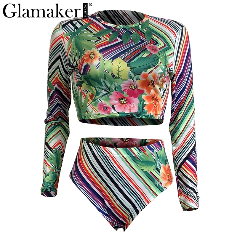 Glamaker Colorful strip floral print sexy bodysuit Women two-piece suit Boho body suit femme Beach fitness summer jumpsuit 2018