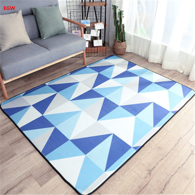 Modern Living Room Carpet Blue Geometric 150*200cm Grid Carpet For Bedroom  Floor Tapete Mat