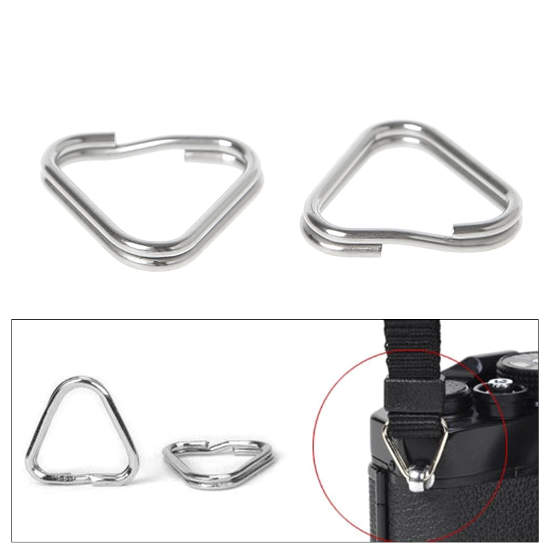 цена 10pcs/set Metal Triangle Rings Split Digital Camera Strap Hook Replacement Parts Camera Strap Triangle Rings