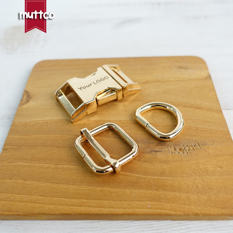 50sets/lot (metal buckle+adjust buckle+D ring/set) DIY dog collar accessory golden 2.0cm engraved buckle kirsite customize LOGO