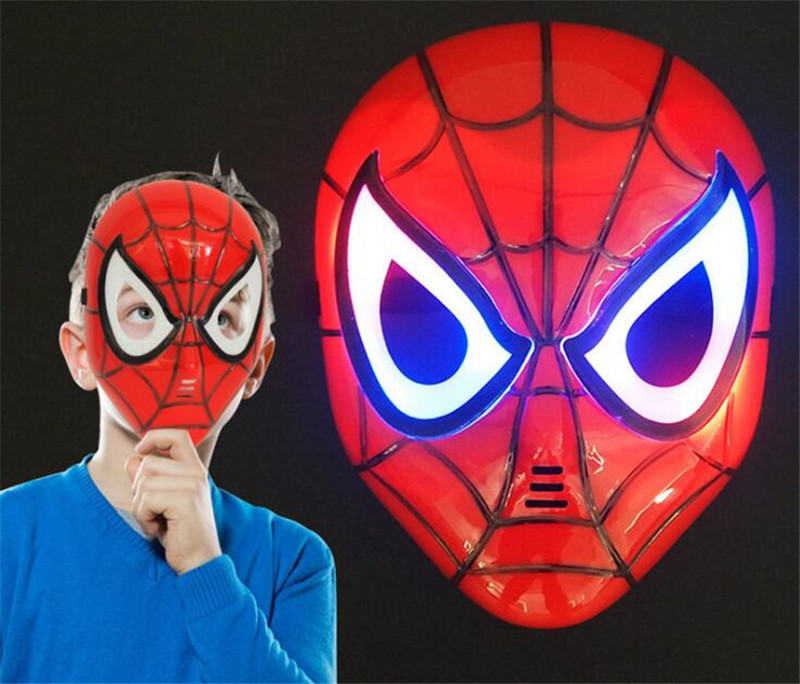 LED Glowing Children Cosplay Mask Spiderman Iron Man Party Cartoon Movie Mask for Children's Day Halloween