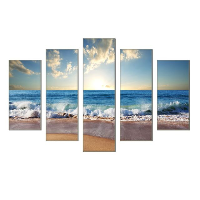 Aliexpress.com : Buy 5 Piece canvas art Sunrise Modern landscape ...