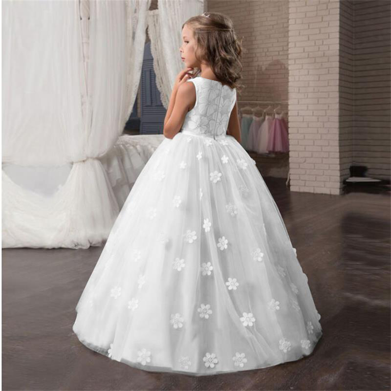 Fancy Girl Flower Petals Dress Children Bridesmaid Outfits Elegant Kids Dresses for Girls Party Prom Gown Princess Costume 6 14Y 4