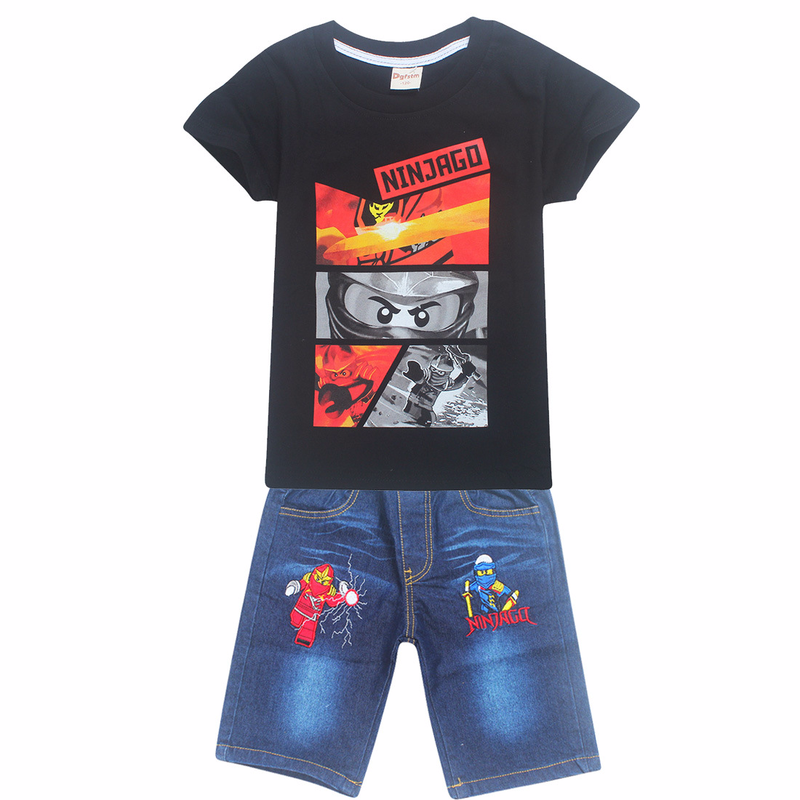 2018 Baby Kids Teens Suits Shirt Jeans Shorts Pants Robot Cartoon Clothes Set Summer Ninja Ninjago Children Boys Clothing Sets
