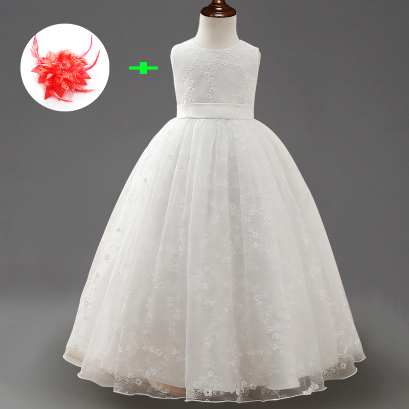 New Arrival Prom Dress Children Fashion Sleeveless Floral White Lace Gown Flower Girls Wedding Gowns Kids Formal Party Wear girls formal dress 2017 sleeveless flower girls dresses kids party chiffon lace bow ball gown children s prom wedding dress