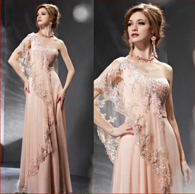 India Saree Style Single Shoulder Lace Light Pink Girl Prom Gown Fashion Evening Dress With Sequins 2016 Vestido De Festa Longo