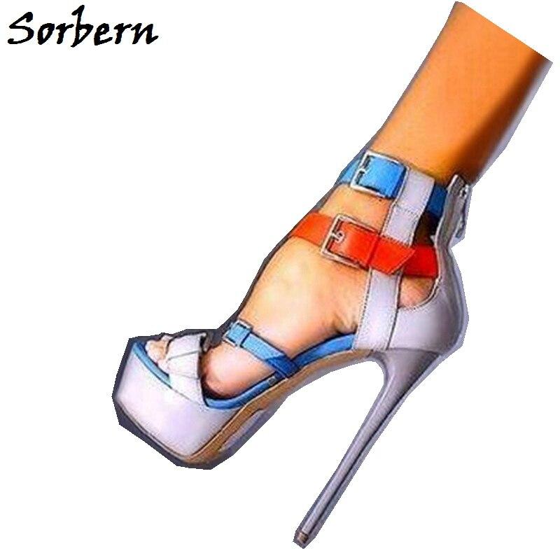 Sorbern Feminina Color Summer Sandals Custom Made Designer Brand Shoes For Ladies Fashion Platform Open Toe Sandals Big Size 10