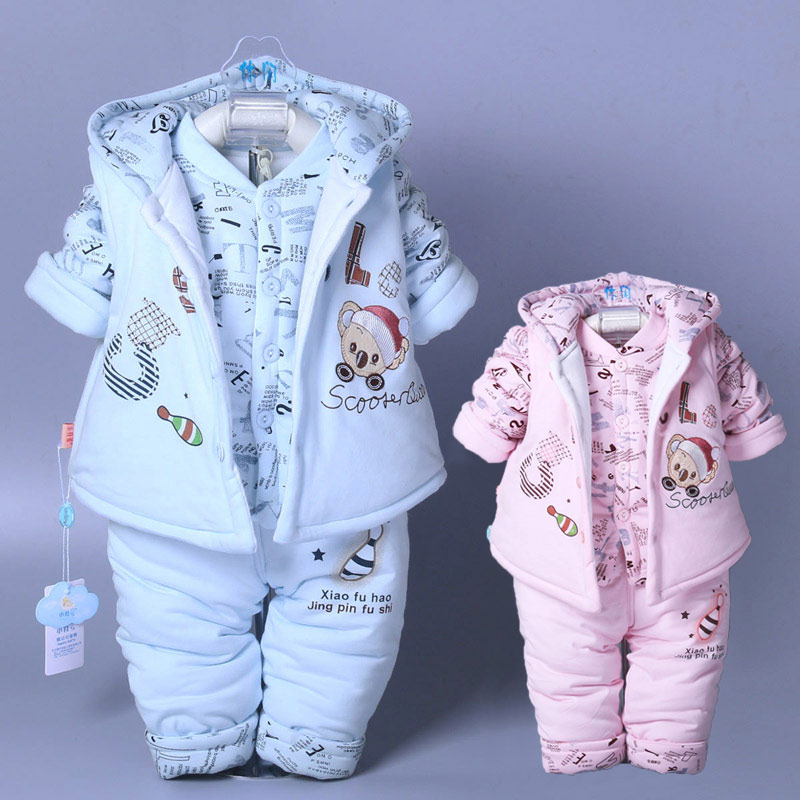 2018 Winter Hot Newborn Baby Boy&Girl Clothing Set For Infant Kids Cotton Padded Clothes 3pcs Children Warm Outerwear Suits G830 стоимость