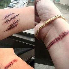 Waterproof Fresh Temporary Blood Tattoo Stickers Halloween Terror Wound Tattoo Injury Scar Fake Henna Sticker