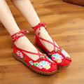 Fashion Spring Chinese Style Flats Embroidery Women Casual Cloth Shoes Size35-41 Red Anckle strip Soft Sole Cozy Shoes Woman