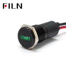 FILN 14 мм приборной панели автомобиля старт символ led красный, желтый, белый, синий, зеленый 12 в led черный корпус индикатор с 20 см кабель