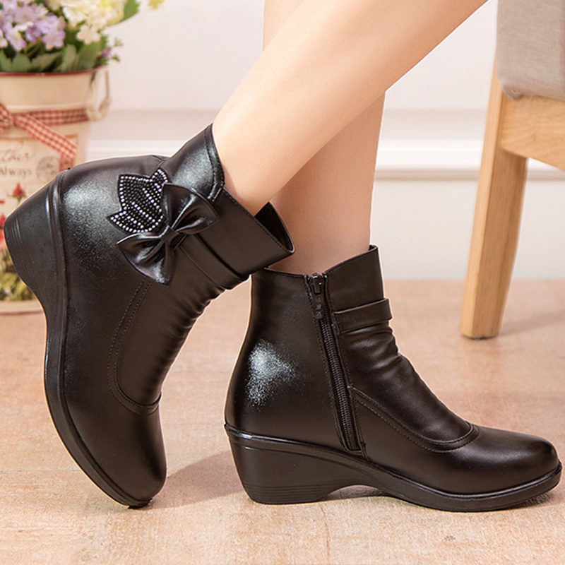 QUANZIXUAN Genuine Leather Ankle Boots Fur Women Snow