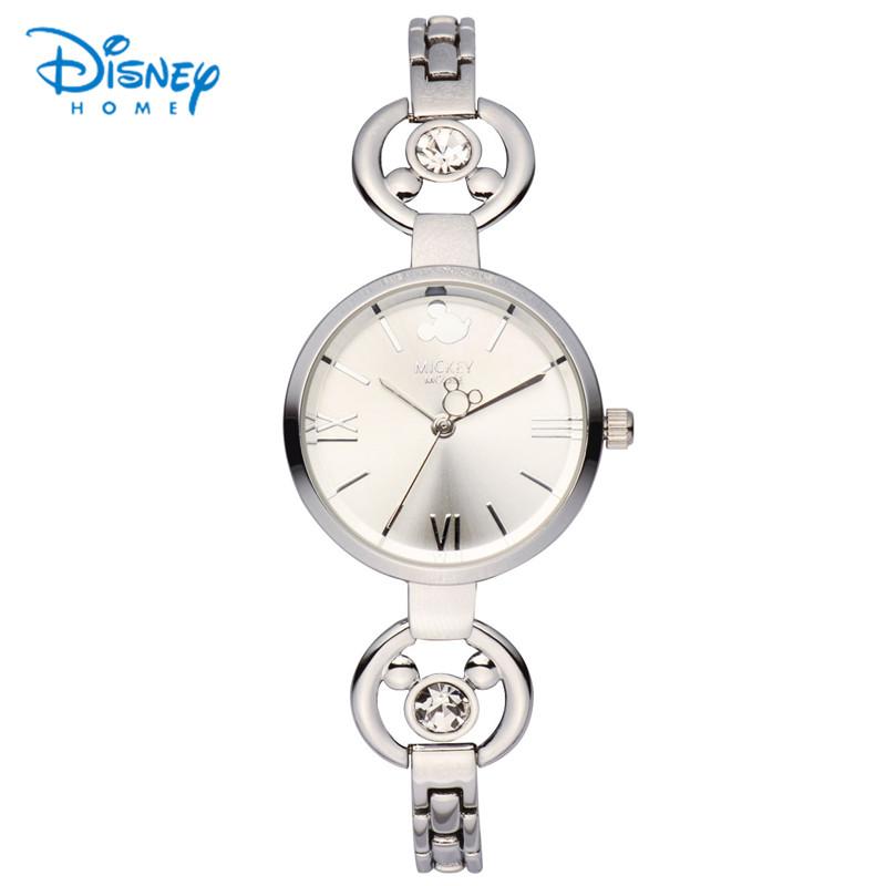 Prix pour 100% Véritable Disney Femmes Montre En Acier Inoxydable Bracelet Mickey Mouse Montre Rose Or Argent Quartz Montre-Bracelet relogio feminino