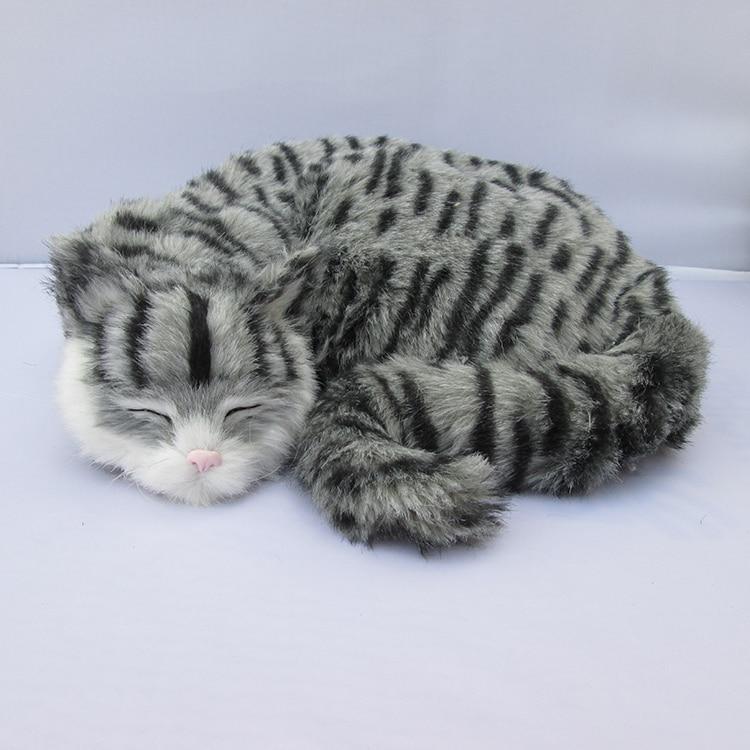 ФОТО gray simulation cat toy plastic&fur sleeping cat model gift about 29x31x10cm a92