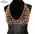 Chran Women Sexy Silver Gold Tone Mesh Body Chain Bra Slave Harness V Necklace Crystal Waist Bikini Showgirl Jewelry DDBC1014