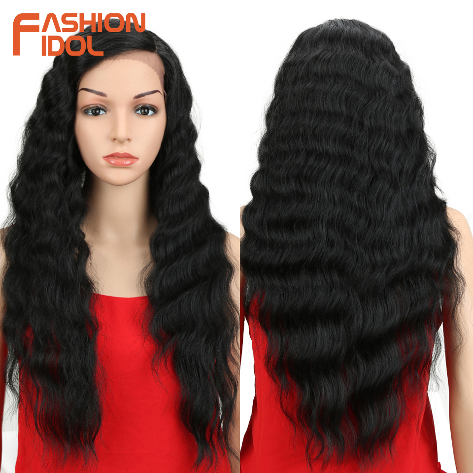 FASHION IDOL Hair Synthetic Lace Front Wig Natural Hair Wig Black 28 Inch Deep Wave Brown Wavy Synthetic Wigs For Black Women