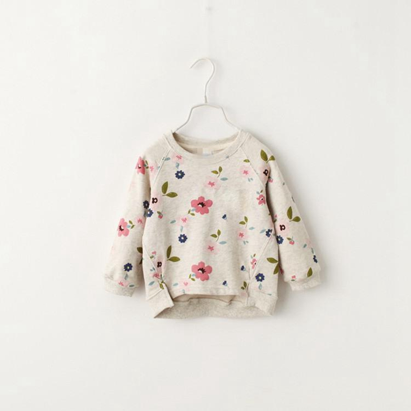 Girls print flower sweatshirts Long sleeve shirt O-neck Autumn spring Kids children clothing Casual soft sweatshirt