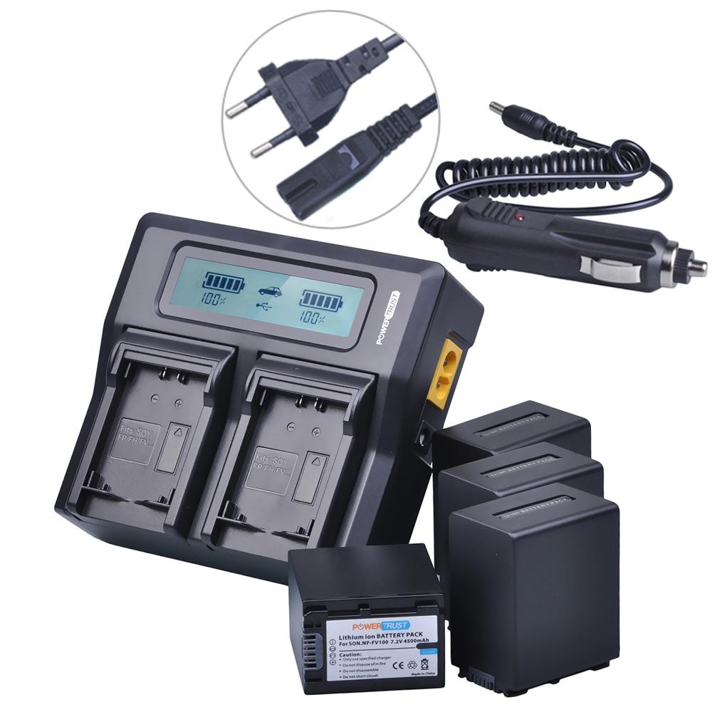 4Pcs 4500mAh NP FV100 NPFV100 FV100  Camera Battery + LCD Rapid Charger for SONY NP-FV30 NP-FV50 NP-FV70 SX83E SX63E FDR-AX100E battery pack charger for sony np fv30 np fv30 np fv50 np fv50 np fv70 npfv70 np fv100 infolithium v series 1050mah