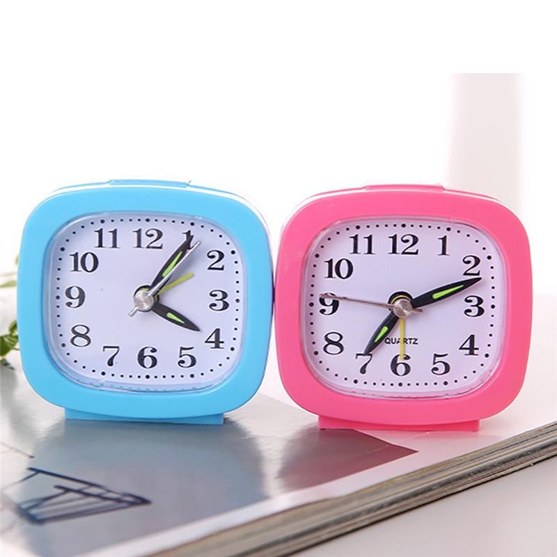 Square Cube Light Mini Easy Alarm Clock Time Bedroom Travel Portable Alarm Clock