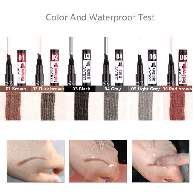 LULAA Makeup Waterproof Eyebrow Pen 4 Head Eye Brow Tint 6Color Long Lasting Natural Brown Black Grey Eyebrow Pencil Make Up Ink 2