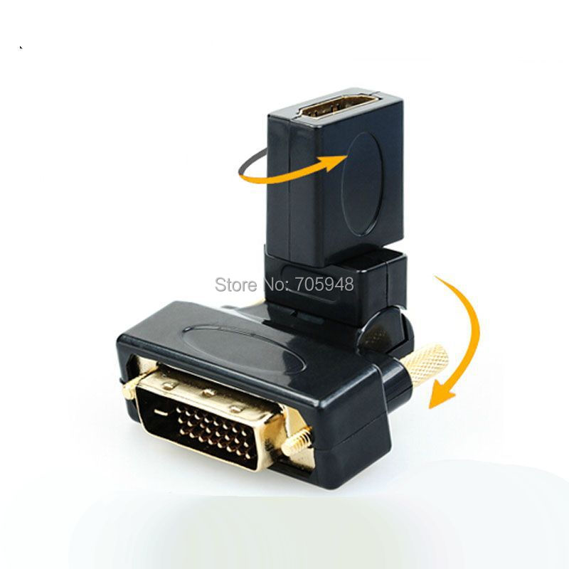 FREE SHIPPING swivel Angle DVI 24+1 male to HDMI female M/F Adapter Converter for HDTV DVD PC VIDEO