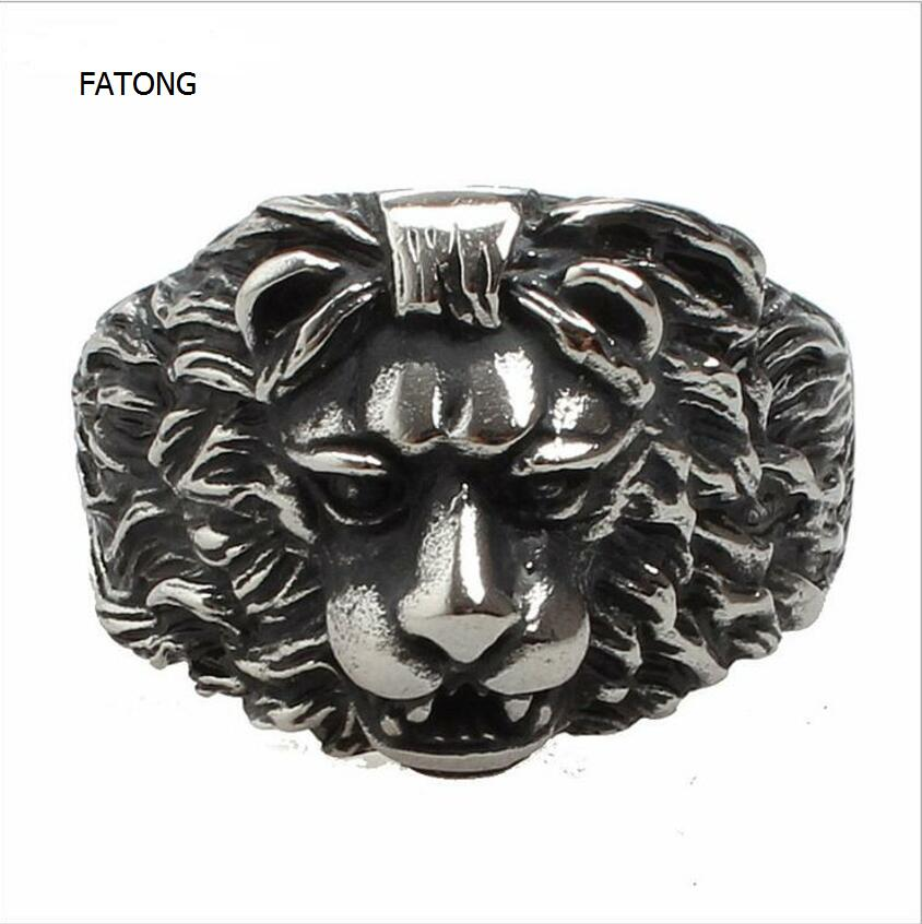 Retro jewelry wholesale domineering lion head ring style steel titanium casting lion ring men t0710