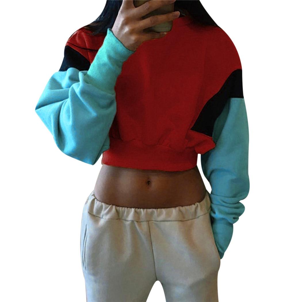 Korean Patchwork Women Cropped Hoodies 2018 Autumn Winter Long Sleeve Female Casual Hoodies Sweatshirt Jumper Moletom Tumblr