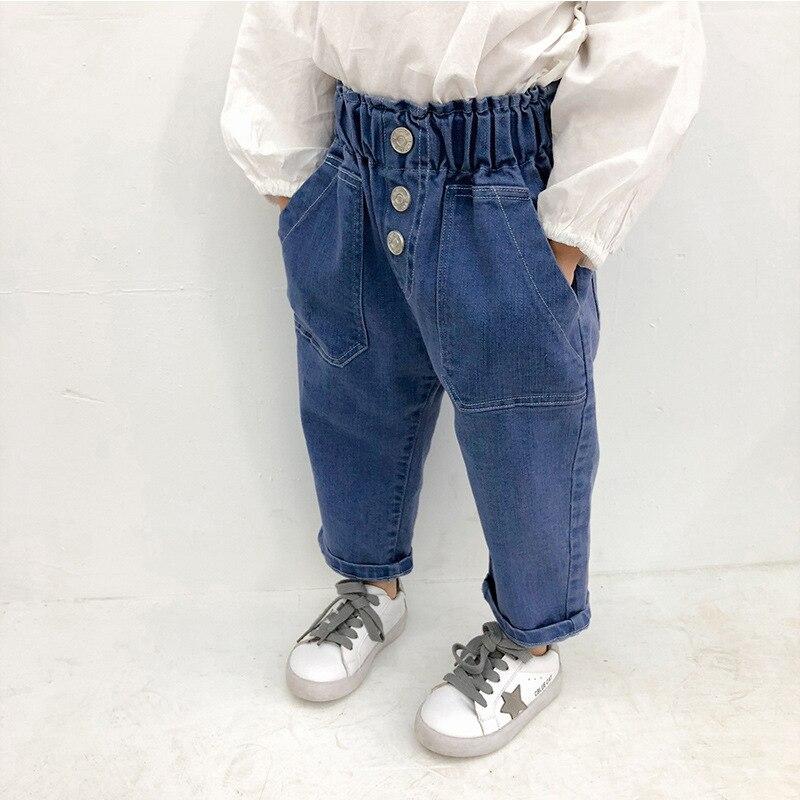 Ambitieus Lente Herfst Mode Hoge Taille Losse Jeans Voor Meisjes 2019 Katoen Zacht Toevallige Denim Broek Kids All-match Broek Gemakkelijk Te Repareren