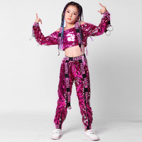 New Sequins Children Perform Jazz Dance Costumes Dance Girls Jazz Strapless Long Sleeve Hiphop Clothing 110 160cm Height