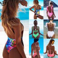 LI-FI Sexy Einem Stück Badeanzug Frauen Bademode 2019 Sommer Beachwear Spitze schwimmen anzug Badeanzüge Body Monokini S ~ XL
