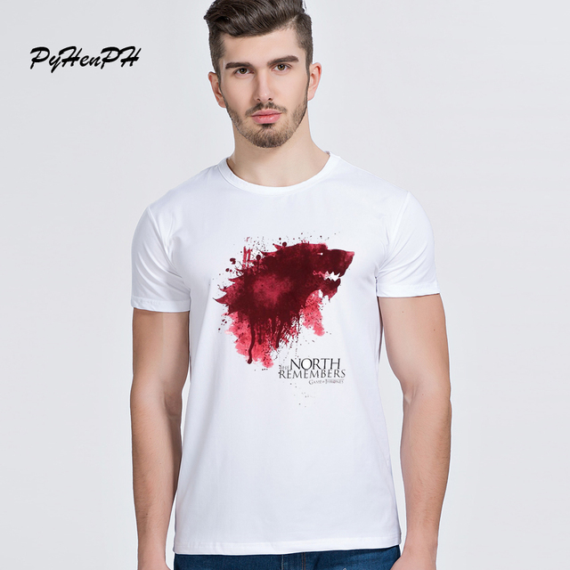 Tshirt Homme 2017 New Game of Thrones t-shirt Men Cool The North Remembers Blood Wolf t shirt Men's Tee top tee Camisetas Hombre