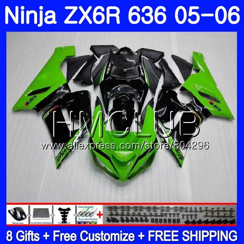 Hot Corpo verde Para KAWASAKI NINJA ZX 6R 600CC 6 R ZX636 ZX-636 05 06 17HM. 7 05 06 ZX6R ZX600 ZX 636 ZX-6R 2005 2006 Carenagem