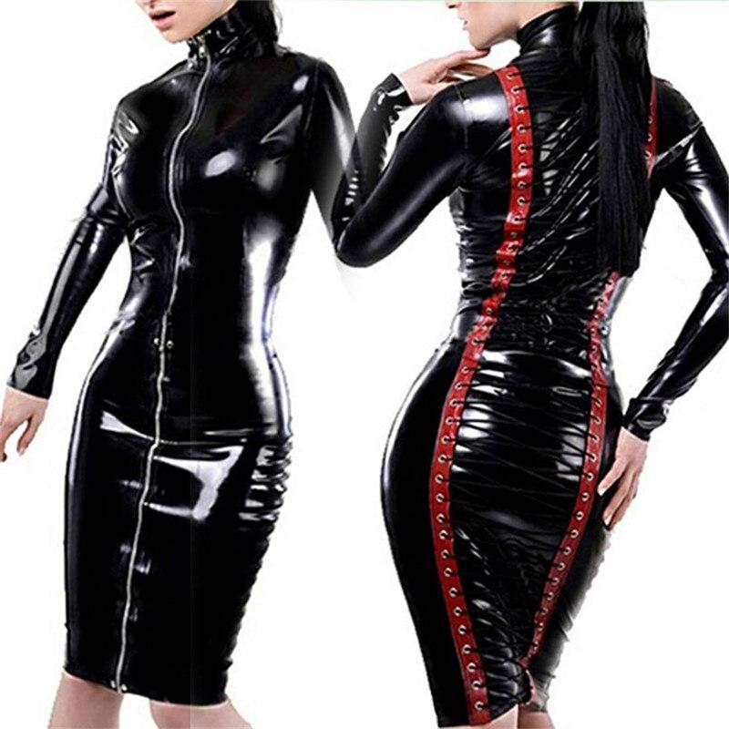 Gothic Wetlook Vinyl Dresses Women Autumn Club Party Dress Black Turtleneck Long Sleeve Front Zipper Back Lace Up Shiny Clubwear