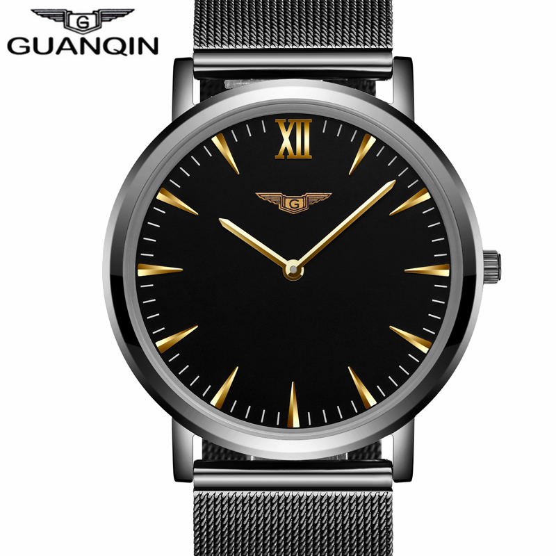 ФОТО GUANQIN  New Fashion Mens Watches Top Brand Luxury Men Quartz Watch Mesh Band Stainless Steel Ultra Thin Clock Relogio Masculino