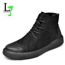 Mode Mannen Laarzen Winter Met Bont 2020 Lederen Schoenen Mannen Warm Casual Boot Mannelijke Rubber Enkel Sneeuw Botas Lace Up plus Size 47 Platte