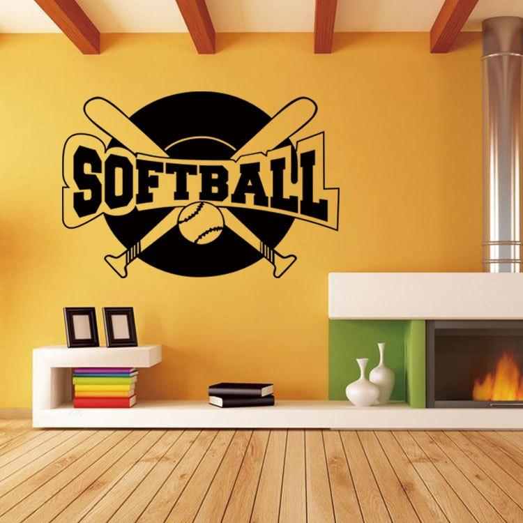 Hot Wall Stickers Home Decor softball Wallpaper Decal Mural Wall Art ...