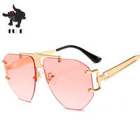 FU E New Fashion Rimless Gradient Clear Sunglasses Women Luxury Oversized Celebrity Blue Lens Sun Glasses For Men Curved Legs
