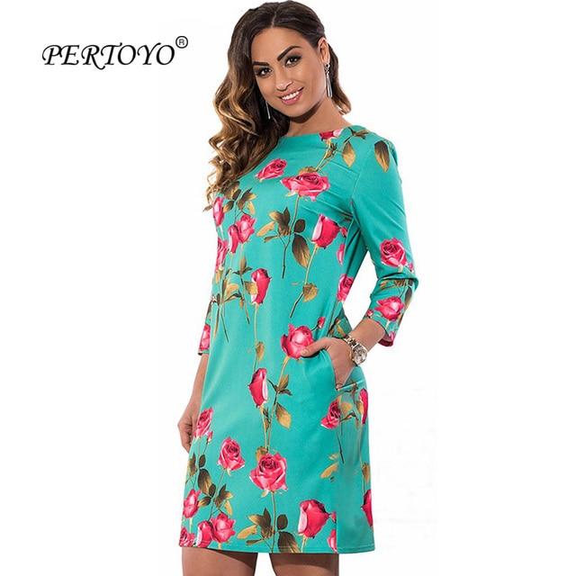 PERTOYO L-3XL 4XL 5XL 6XL Plus Size Vestidos Elegant Floral Print Casual Women  Dress Big Size Autumn Cute Loose Mini Shift Dress 0ac93ec69664