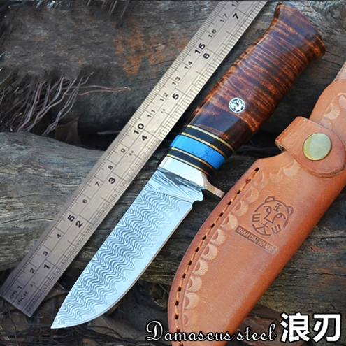 Tactical straight knife Damascus  craft knife Outdoor hunting tools Multi-function pattern saury knife tool Nordic style  knife bestlead chinese peony pattern zirconia ceramics 4 6 knife chopping knife peeler holder