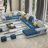 hot sale simple modern washable fabric U shape corner sectional sofa for living room