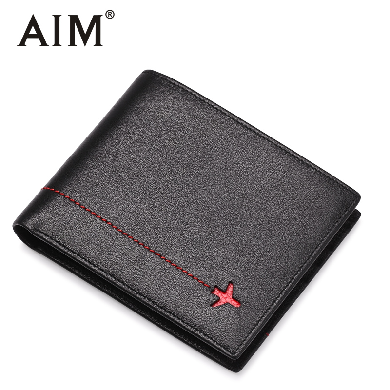 AIM Short Wallets For Men Fashion Thin Men Wallet Cowhide Leather Small Man Card Holder Slim Male Purse A413 aim mens small wallet 100% genuine leather men purse male compact slim short wallets for men cowhide card holder carteira a292
