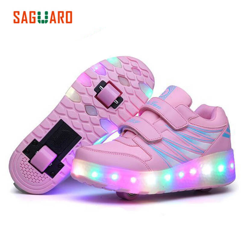 Children Sports Shoes Girls Boys LED Double Wheel Roller Shoes Retractable Roller Skate Shoes Light Glowing Sneakers zapatillas children roller sneaker with one wheel led lighted flashing roller skates kids boy girl shoes zapatillas con ruedas