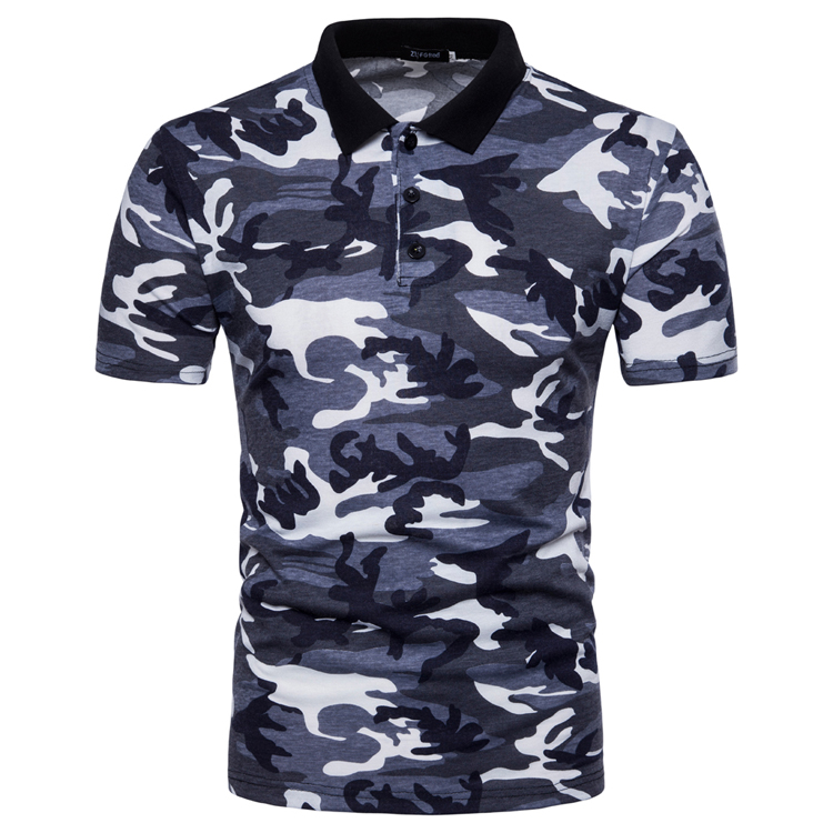 Men's Top Regular Gradient Print Breathable Cotton Short Sleeve 2018 Spring And Summer New Casual Camouflage Polo Shirt 42