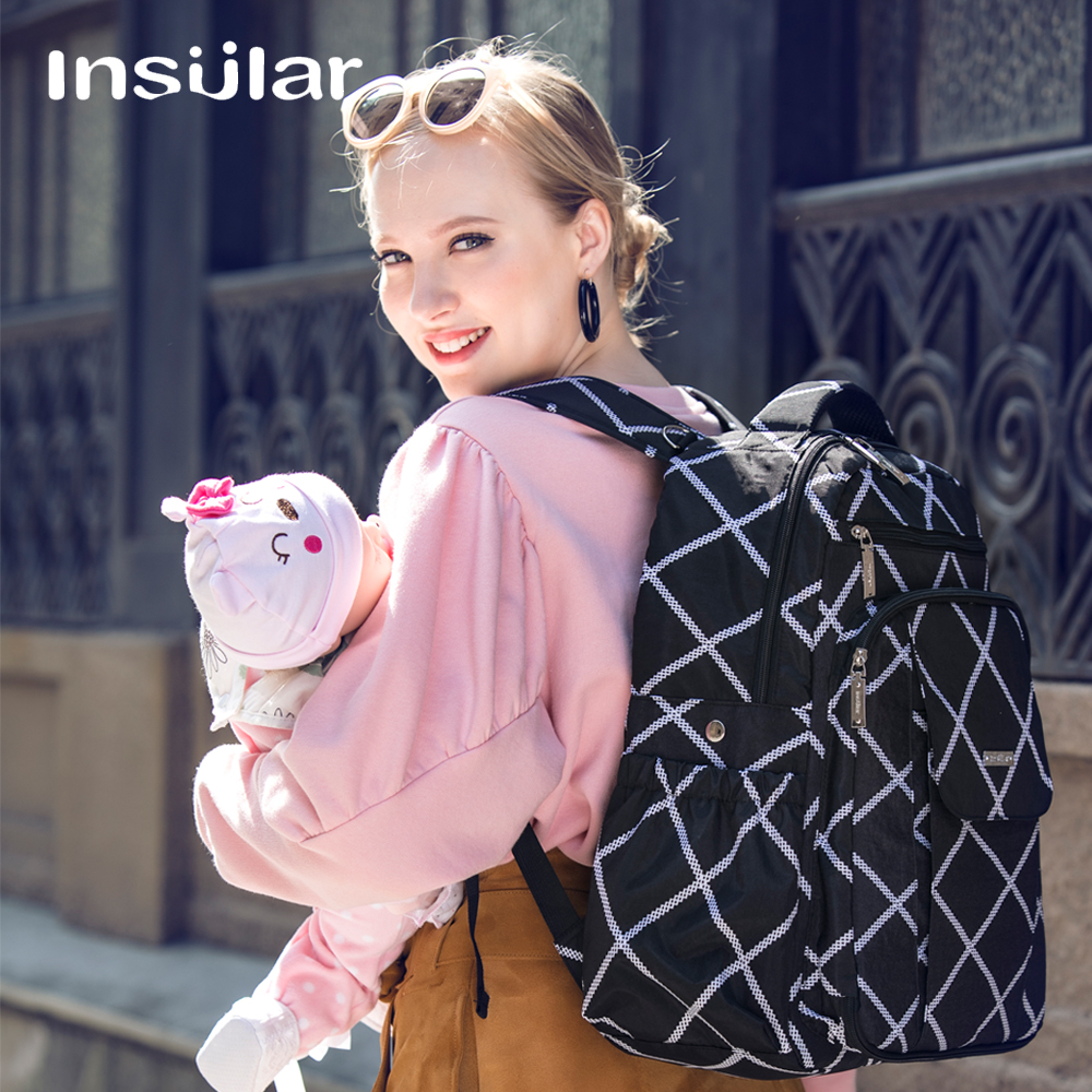 Insular Brand maternity diaper bag mummy Travel backpack waterproof hygienic Large capacity baby nappy bag stroller bags wcarfun hand stitched black leather steering wheel cover for peugeot 308 old peugeot 408