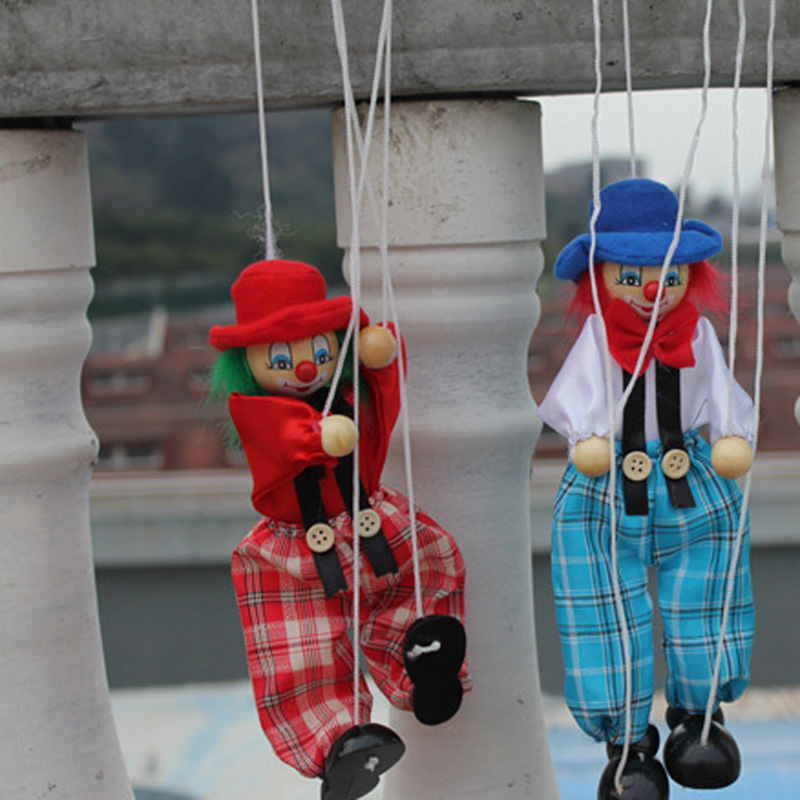 Classic Funny Vintage Colorful Pull String Puppet Clown Wooden Marionette Handcraft Toys Joint Activity Doll Kids Children Gifts