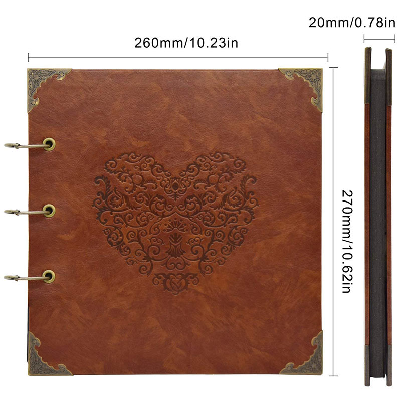 Vintage Three-Ring Binder Picture Photo Album Heart-Shaped Leather Cover Scrapbook Diy Wedding Guest Book Family Memory Book (19)