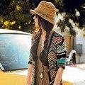 Mujeres de la manera raya sombrero para el sol Playa grande ala colorido rayas Sombrero de Paja Envío Gratis